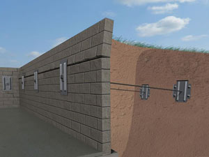 A graphic illustration of a foundation wall system installed in Redmond